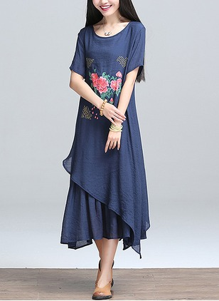 Cotton Floral Half Sleeve Mid-Calf Casual Dresses