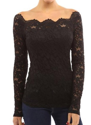 Lace Solid Others Long Sleeve Sexy T-shirts & Vests