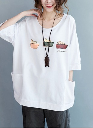 Cotton Color Block Round Neck Half Sleeve Casual T-shirts & Vests