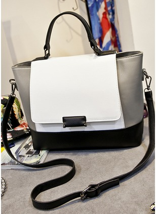 Shoulder Totes Color Block PU Black White Medium Bags
