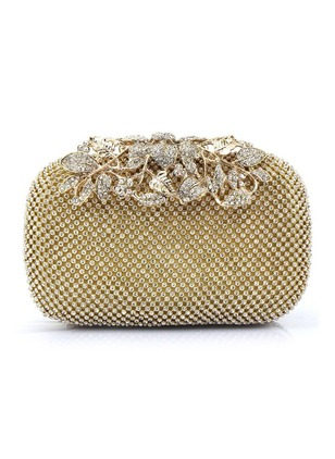 Clutches Fashion Polyester Black Gold Silver Medium Bags