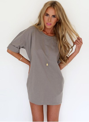 Polyester Solid Half Sleeve Above Knee Casual Dresses
