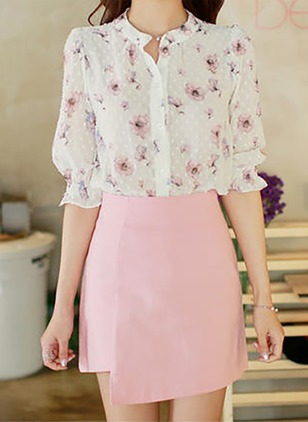 Floral Casual Polyester High Neckline Half Sleeve Blouses