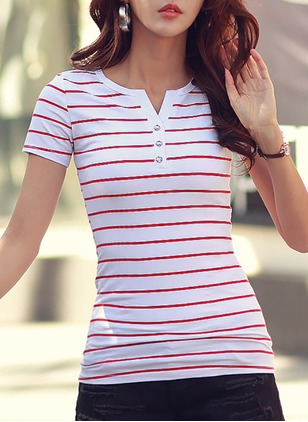 Cotton Stripe V-Neckline Casual T-shirts & Vests