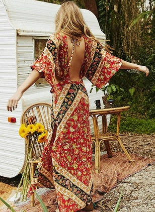Rayon Floral Half Sleeve Maxi Casual Dresses