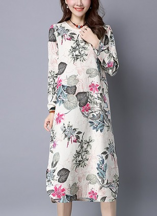 Cotton Linen Floral Long Sleeve Mid-Calf Casual Dresses