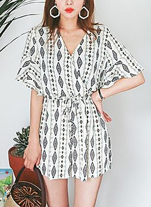 Cotton Geometric Short Sleeve Jumpsuits & Rompers