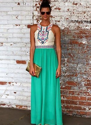 Polyester Color Block Sleeveless Maxi Vintage Dresses