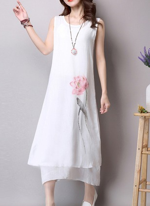 Cotton Floral Sleeveless Mid-Calf Casual Dresses