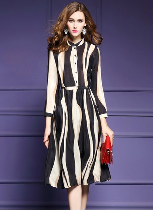 Polyester Stripe Long Sleeve Knee-Length Elegant Dresses