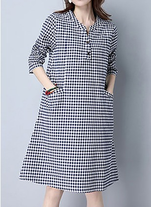 Cotton Linen Check Long Sleeve Knee-Length Casual Dresses