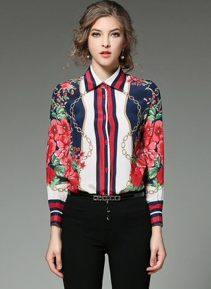 Floral Vintage Cotton Collar Long Sleeve Blouses