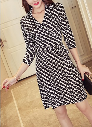 Polyester Geometric 3/4 Sleeves Above Knee Elegant Dresses
