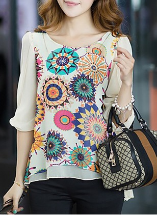 Floral Casual Chiffon Round Neckline Half Sleeve Blouses