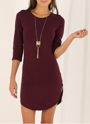 Polyester Solid 3/4 Sleeves High Low Casual Dresses