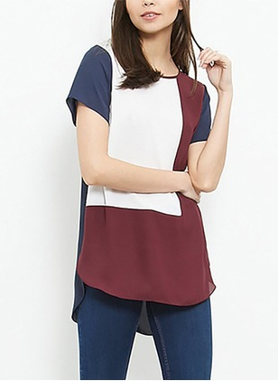 Polyester Color Block Round Neck Short Sleeve Casual T-shirts & Vests