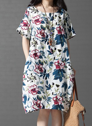 Cotton Floral Short Sleeve Knee-Length Casual Dresses  ...