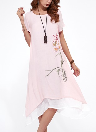 Cotton Floral Short Sleeve High Low Casual Dresses  ...