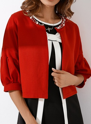Wool & Wool Blend Red Short Half Sleeve Round Neck Coats & Jackets