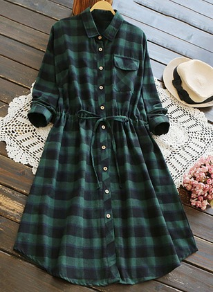 Cotton Tartan Long Sleeve Above Knee Casual Dresses