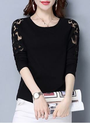 Cotton Solid Round Neck Long Sleeve Casual T-shirts & Vests