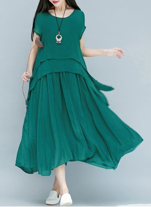 Cotton Solid Short Sleeve Mid-Calf Elegant Dresses  ...
