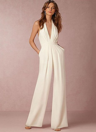 Cotton Solid Sleeveless Jumpsuits & Rompers