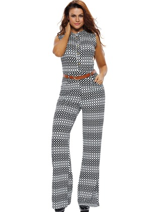 Polyester Geometric Sleeveless Wave Point Jumpsuits & Rompers