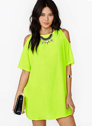 Chiffon Solid Short Sleeve Knee-Length Casual Dresses
