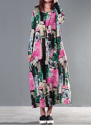 Cotton Floral Long Sleeve Maxi Casual Dresses