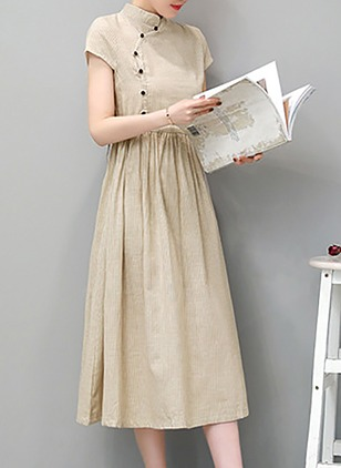 Cotton Linen Cap Sleeve Mid-Calf Casual Sashes Buttons Zipper Dresses