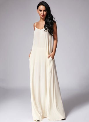 Cotton Polyester Solid Sleeveless Maxi Sexy Dresses