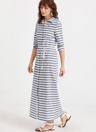 Cotton Stripe Long Sleeve Maxi Casual Dresses