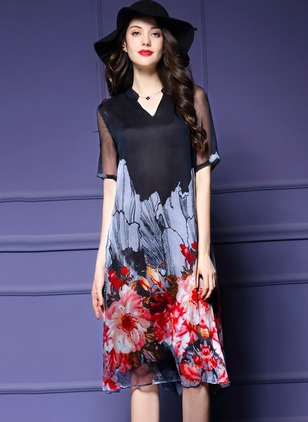 Polyester Floral Short Sleeve Knee-Length Casual Dresses