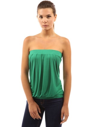 Polyester Solid Strapless Neckline Sleeveless Casual T-shirts & Vests