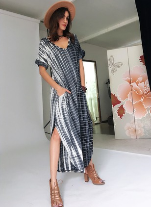 Spandex Rayon Stripe Short Sleeve Maxi Casual Dresses  ...