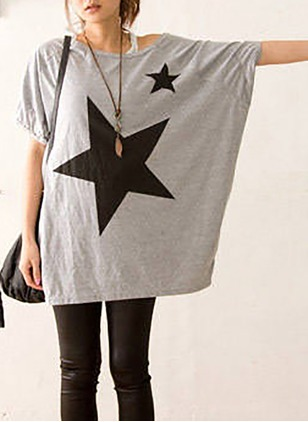 Cotton Geometric Round Neck Short Sleeve Casual T-shirts & Vests