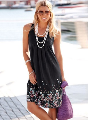 Polyester Solid Sleeveless Knee-Length Casual Dresses  ...