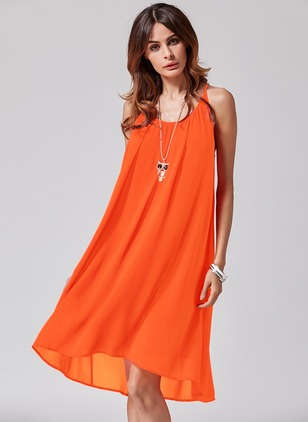 Chiffon Solid Sleeveless Above Knee Casual Dresses