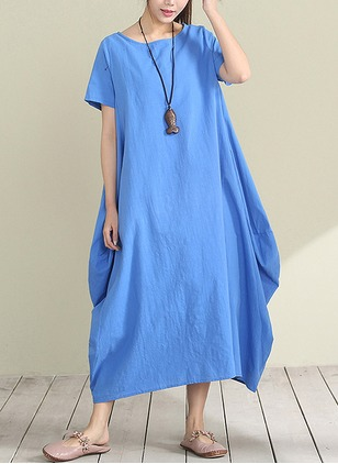 Cotton Linen Solid Short Sleeve Mid-Calf Casual Dresses