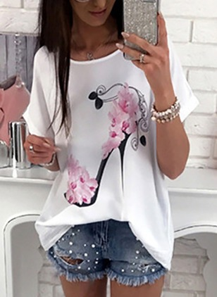 Polyester Floral Round Neck Short Sleeve Casual T-shirts & Vests