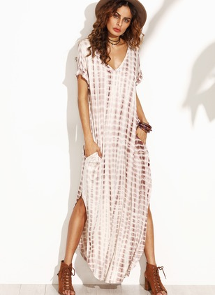 Spandex Rayon Stripe Short Sleeve Maxi Casual Dresses