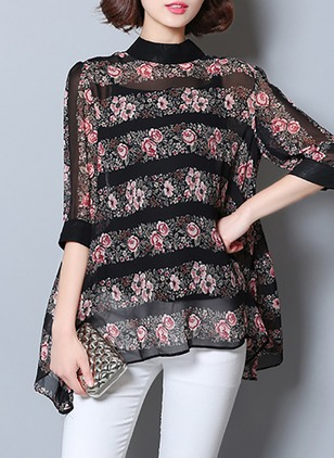 Floral Casual Polyester Round Neckline Half Sleeve Blouses