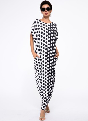 Rayon Polka Dot Short Sleeve Maxi Casual Dresses