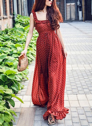 Cotton Polka Dot Sleeveless Maxi Casual Dresses