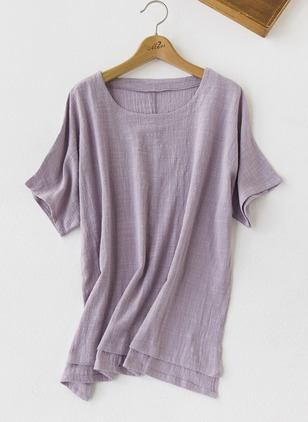 Cotton Linen Solid Round Neck Short Sleeve Casual T-shirts & Vests