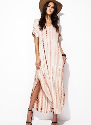 Rayon Stripe Short Sleeve Maxi Casual Dresses