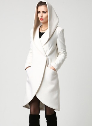 Wool & Wool Blend Polyester White Long Long Sleeve Hooded Coats & Jackets