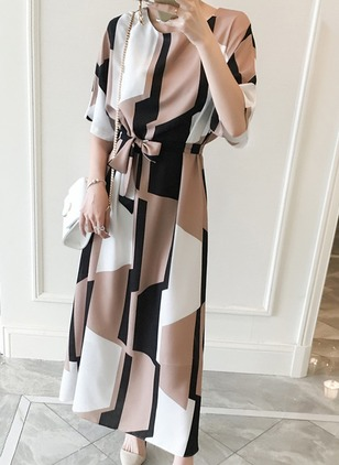 Cotton Color Block Half Sleeve Maxi Casual Dresses  ...