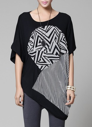 Cotton Geometric Round Neck Half Sleeve Casual T-shirts & Vests